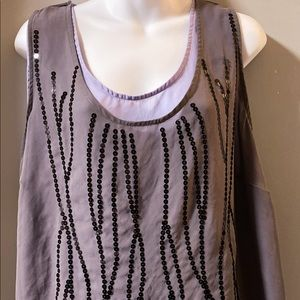 Double layer sheer sequence top size Avenue Studio